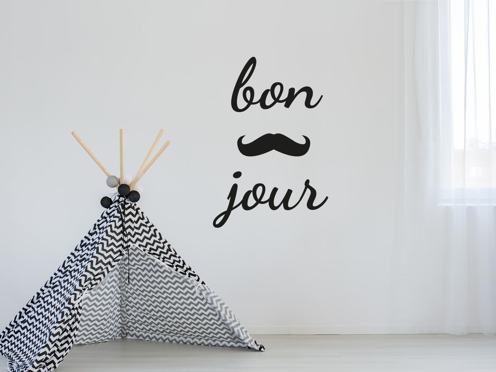 """Muursticker """"Bonjour"""" met snor/mustache"""