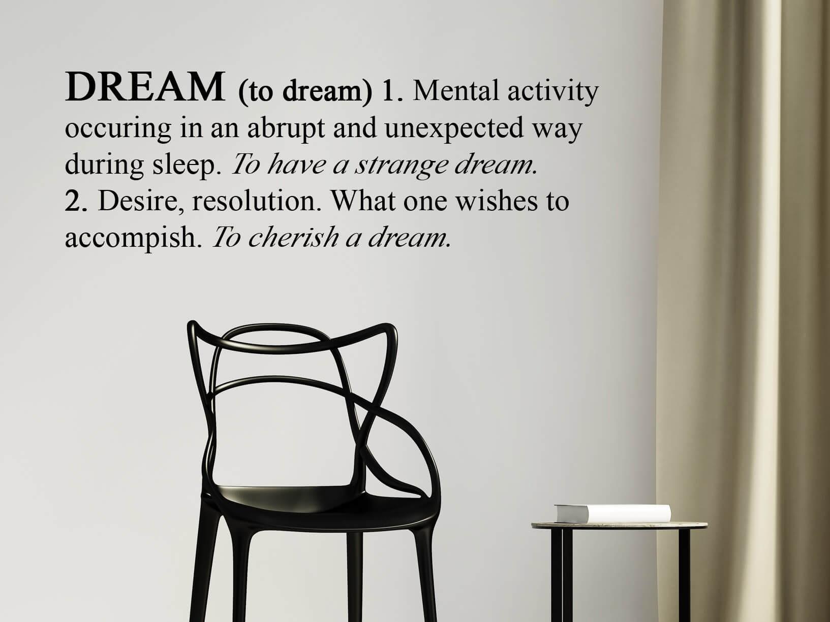 """Muursticker Engelse betekenis van """"Dream"""""""