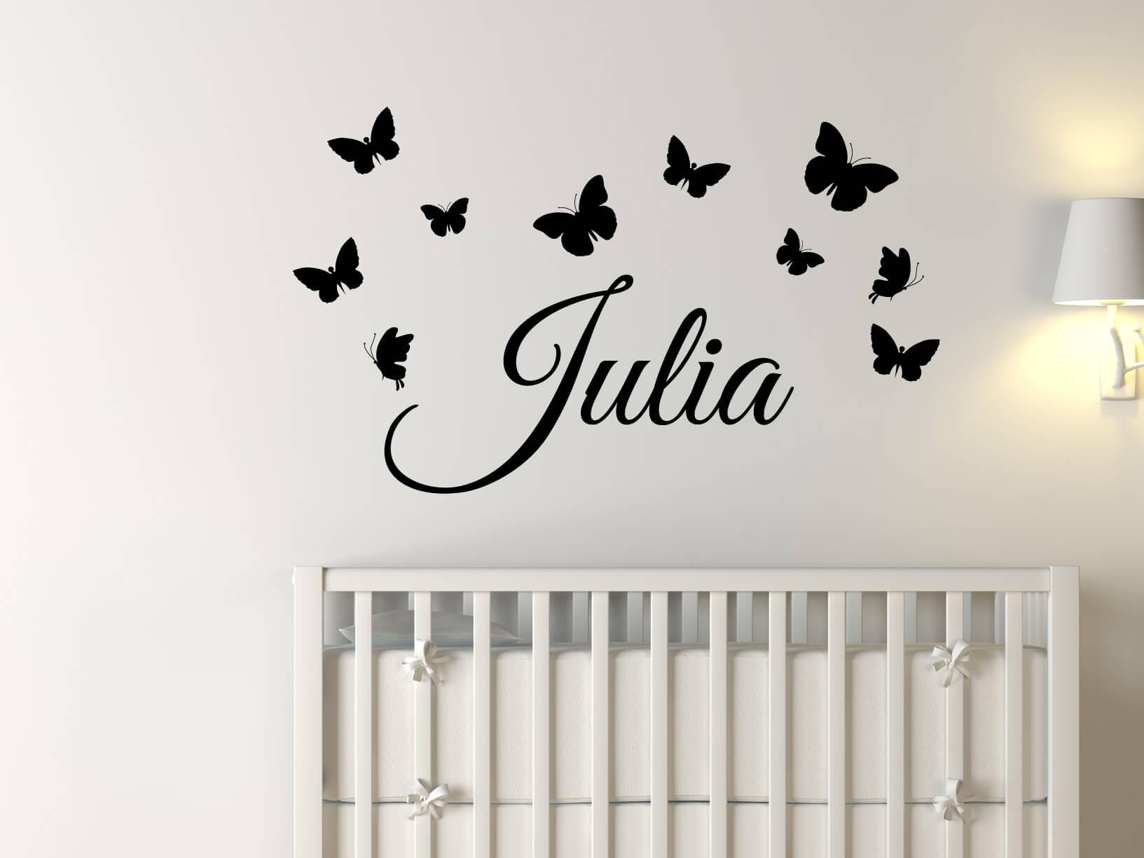 Muursticker eigen naam met vlinders