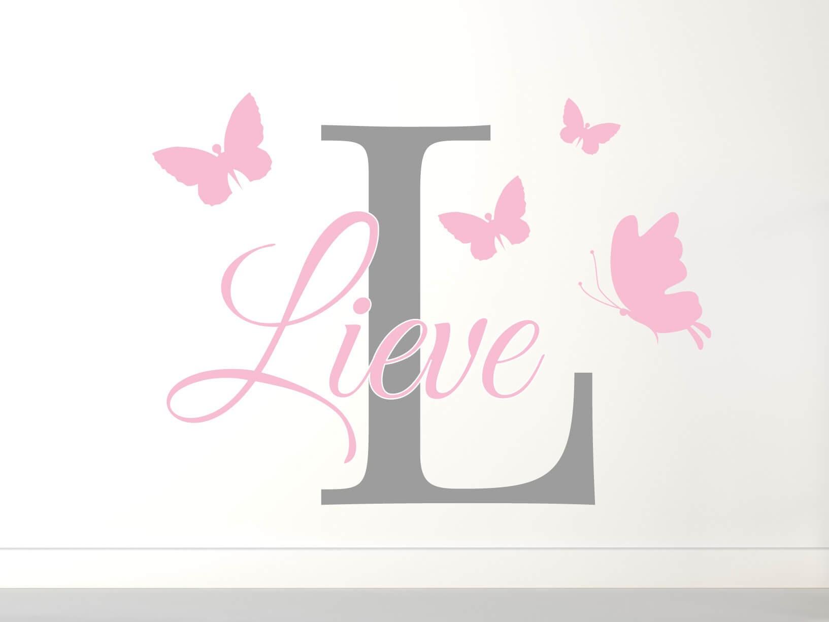 Muursticker naam monogram met vlinders