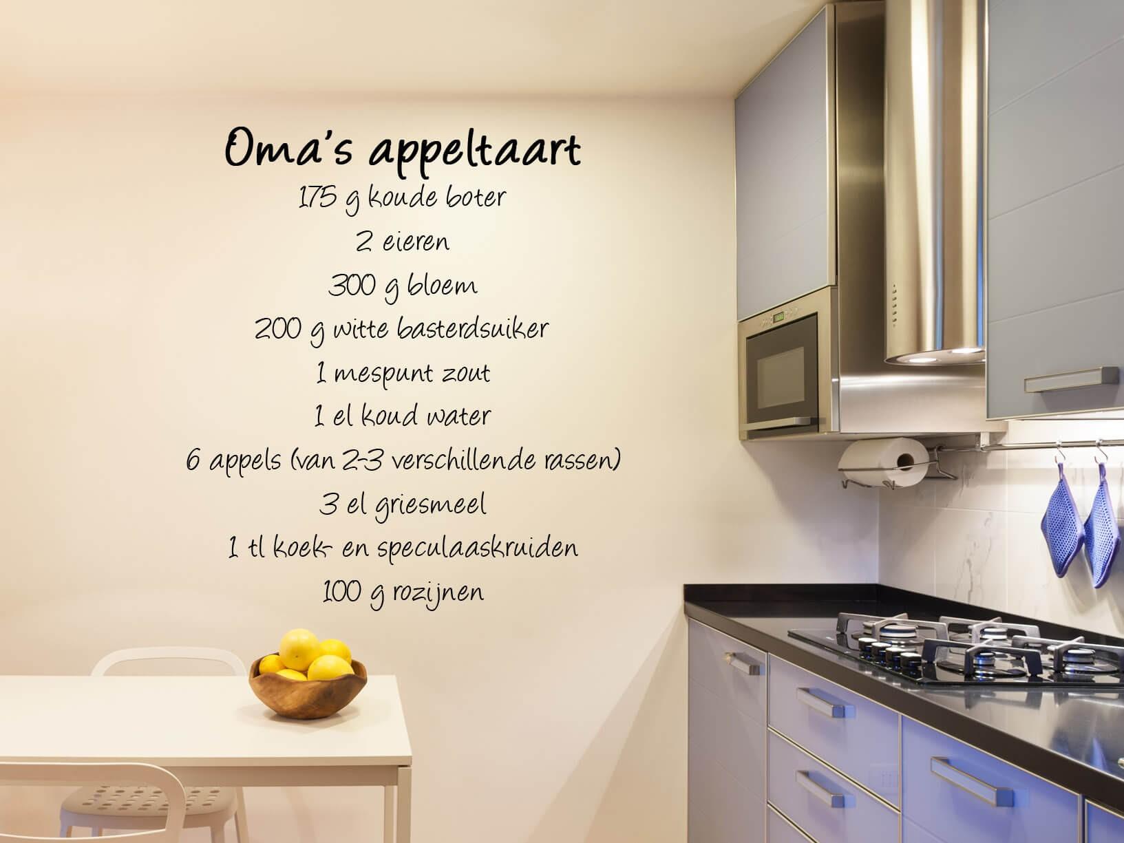 """Muursticker recept """"oma's appeltaart"""""""