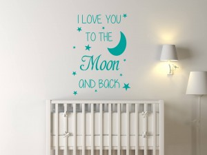"Muursticker ""I Love You To The Moon And Back"""