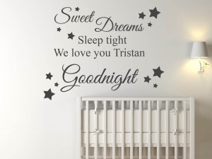 "Muursticker ""Sweet dreams, sleep tight. We love you.. Goodnight"""