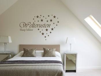 """Muursticker """"Welterusten, slaap lekker"""" met sterren hart"""